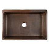 "KASDB33229S-NB - 33"" Hammered Copper Kitchen Apron Single Basin Sink w/ Scroll Design and Apron Front Nickel Background"