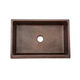 "KASDB33229 - 33"" Hammered Copper Kitchen Apron Single Basin Sink"