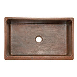 "KASDB35229 - 35"" Hammered Copper Kitchen Apron Single Basin Sink"