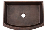 "30"" Hammered Copper Kitchen Rounded Apron Single Basin Sink"
