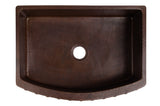 "30"" Hammered Copper Kitchen Rounded Apron Single Basin Sink with Barrel Strap Design"
