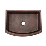 "KASRDB33249 - 33"" Hammered Copper Kitchen Rounded Apron Single Basin Sink"