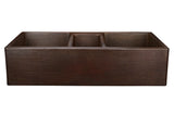 "42"" Hammered Copper Kitchen Apron Triple Basin Sink"