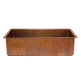 "KSB33199 - 33"" Antique Hammered Copper Kitchen Single Basin Sink"