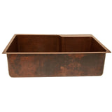 "KSFDB33229 - 33"" Hammered Copper Kitchen Single Basin Sink With Space For Faucet"