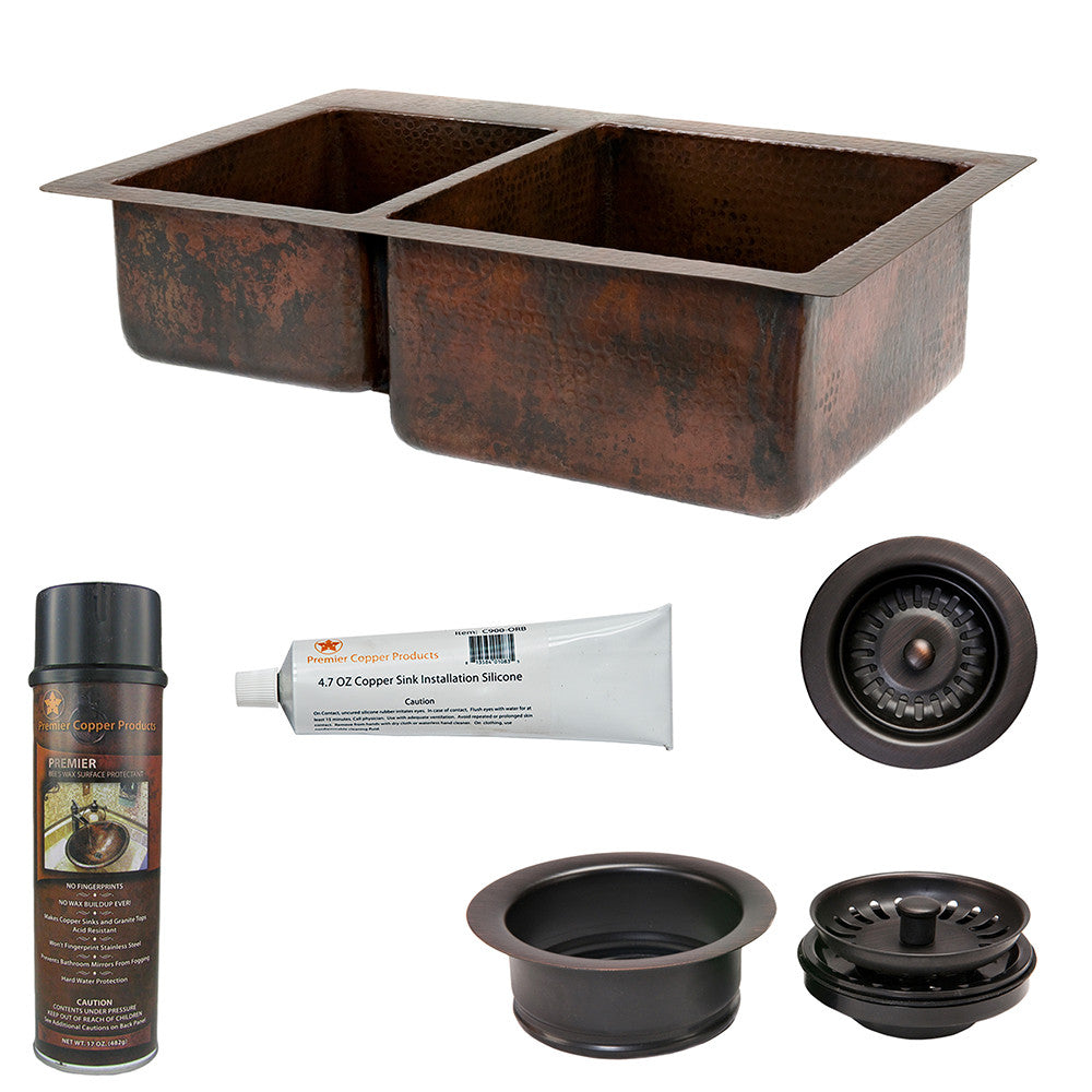 "KSP3_K40DB33229 - 33"" Hammered Copper Kitchen 40/60 Double Basin Sink with Matching Drains, and Accessories"