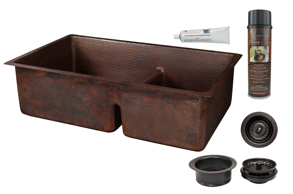 Premier Copper Products - KSP3_K60DB33229-SD5 Kitchen Sink and Drain Package