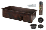 "33"" Hammered Copper Kitchen 70/30 Double Basin Sink with Short 5"" Divider w/ Matching Drains and Accessories"