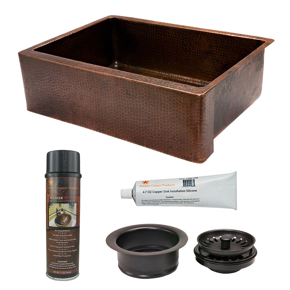 "KSP3_KASDB30229 - 30"" Hammered Copper Kitchen Apron Single Basin Sink with Matching Drain and Accessories"