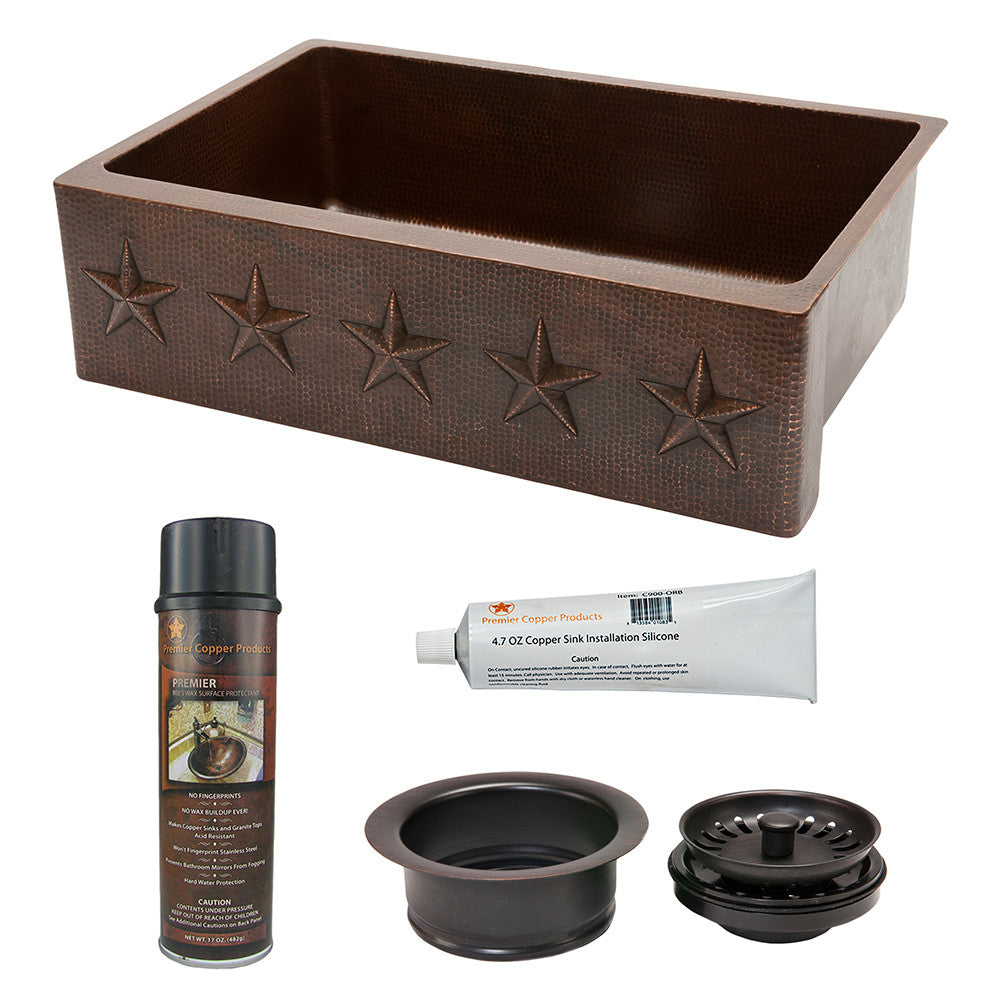"KSP3_KASDB33229ST - 33"" Hammered Copper Kitchen Apron Single Basin Sink w/ Star Design with Matching Drain and Accessories"