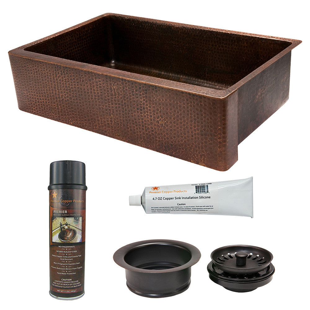 "KSP3_KASDB35229 - 35"" Hammered Copper Kitchen Apron Single Basin Sink with Matching Drain and Accessories"