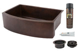 "30"" Hammered Copper Kitchen Rounded Apron Single Basin Sink with Matching Drains, and Accessories"