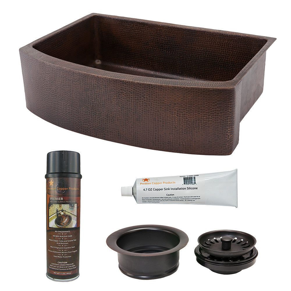 "KSP3_KASRDB33249 - 33"" Hammered Copper Kitchen Rounded Apron Single Basin Sink with Matching Drain and Accessories"