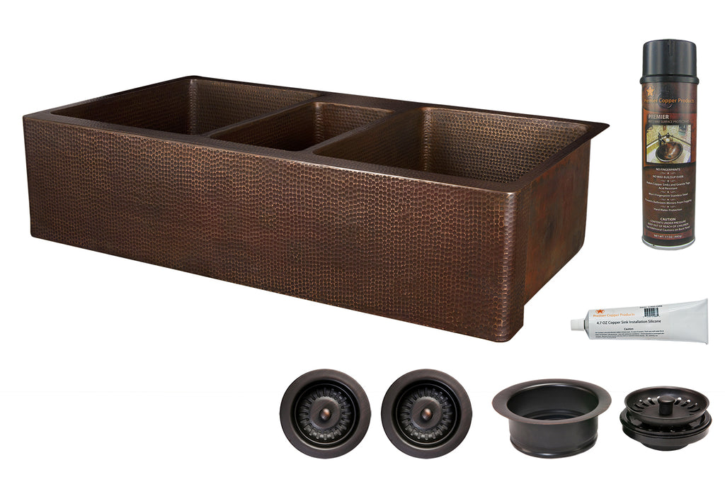 "42"" Hammered Copper Kitchen Apron Triple Basin Sink w/ Matching Drains and Accessories"