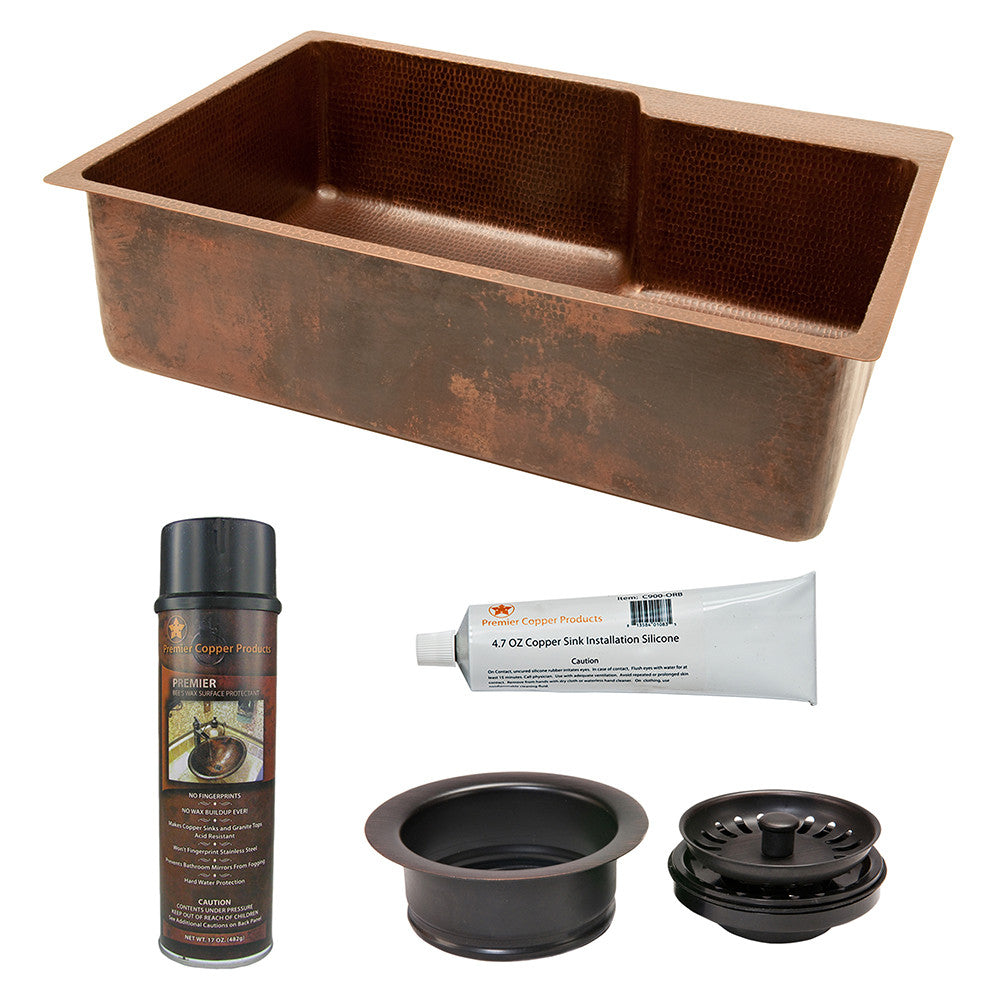"KSP3_KSFDB33229 - 33"" Hammered Copper Kitchen Single Basin Sink with Matching Drain and Accessories"