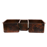 "KTDB422210 - 42"" Hammered Copper Kitchen Triple Basin Sink"