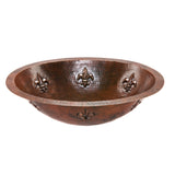 LO19FFLDB - Oval Fleur De Lis Under Counter Hammered Copper Sink