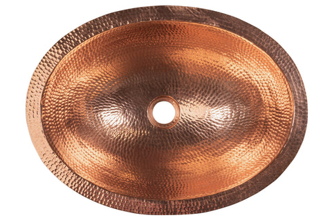 "19"" Oval Under Counter Hammered Copper Bathroom Sink in Polished Copper"