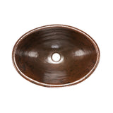 LO19RDB - Oval Self Rimming Hammered Copper Sink