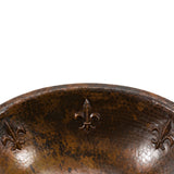 LO19RFLDB - Oval Fleur De Lis Self Rimming Hammered Copper Sink