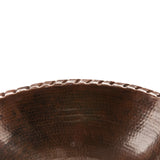 LO19RRDB - Oval Roped Rim Self Rimming Hammered Copper Sink