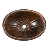 LO19RSBDB - Oval Sunburst Self Rimming Hammered Copper Sink