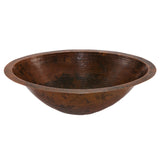 LO20FDB - Master Bath Oval Under Counter Hammered Copper Bathroom Sink