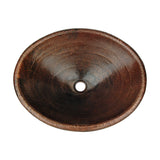 LO20RDB - Master Bath Oval Self Rimming Hammered Copper Bathroom Sink