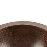 LR12FDB - Small Round Under Counter Hammered Copper Sink