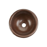 LR12RDB - Small Round Self Rimming Hammered Copper Sink