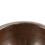 LR14RDB - Small Round Self Rimming Hammered Copper Sink