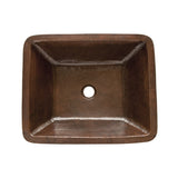 LREC19DB - Rectangle Under Counter Hammered Copper Bathroom Sink