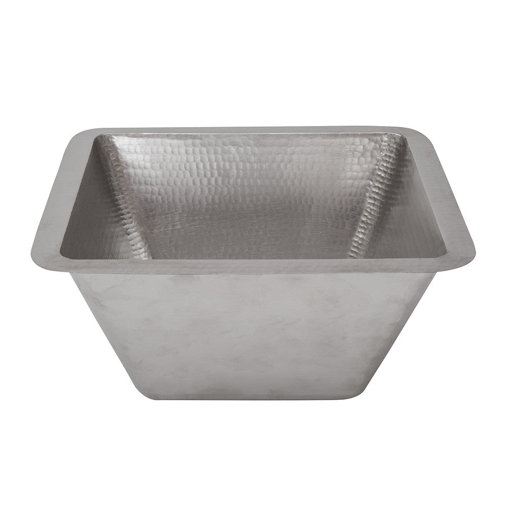 "LSQ15EN - 15"" Square Under Counter Hammered Copper Bathroom Sink in Electroless Nickel"