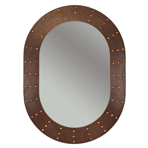 "MFO3526-RI - 35"" Hand Hammered Oval Copper Mirror with Hand Forged Rivets"