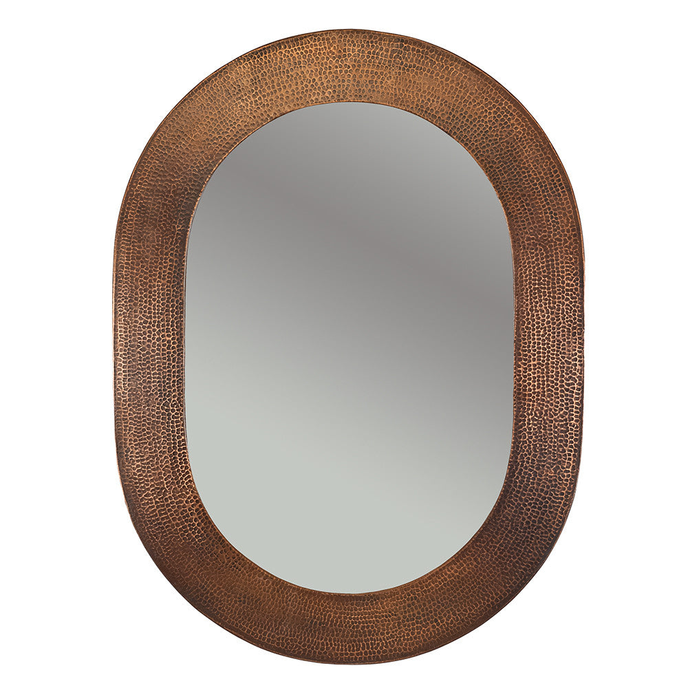 "MFO3526 - 35"" Hand Hammered Oval Copper Mirror"
