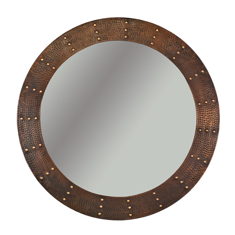 "MFR3434-RI - 34"" Hand Hammered Round Copper Mirror with Hand Forged Rivets"