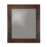 "MFREC3631-RI - 36"" Hand Hammered Rectangle Copper Mirror with Hand Forged Rivets"