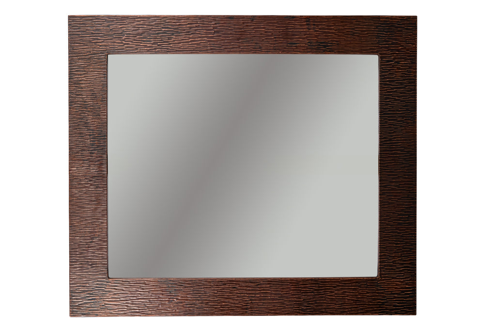 "36"" Hand Hammered Rectangle Copper Mirror with Tree Design"