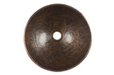"13"" Round Hand Forged Old World Copper Vessel Sink"