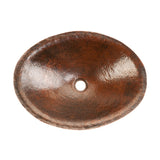 PVOVAL20 - Oval Hand Forged Old World Copper Vessel Sink
