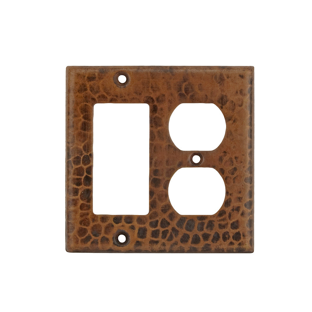 SCOR - Copper Combination Switchplate, 2 Hole Outlet and Ground Fault/Rocker GFI Cover
