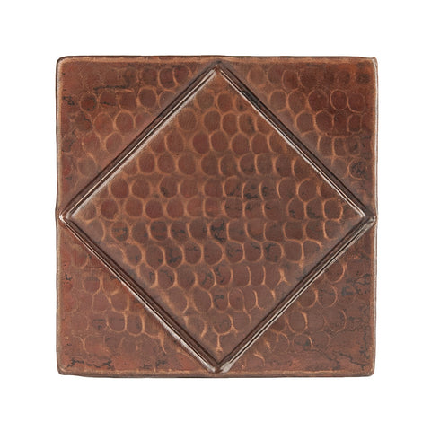 "T4DBD - 4"" x 4"" Hammered Copper Tile with Diamond Design"