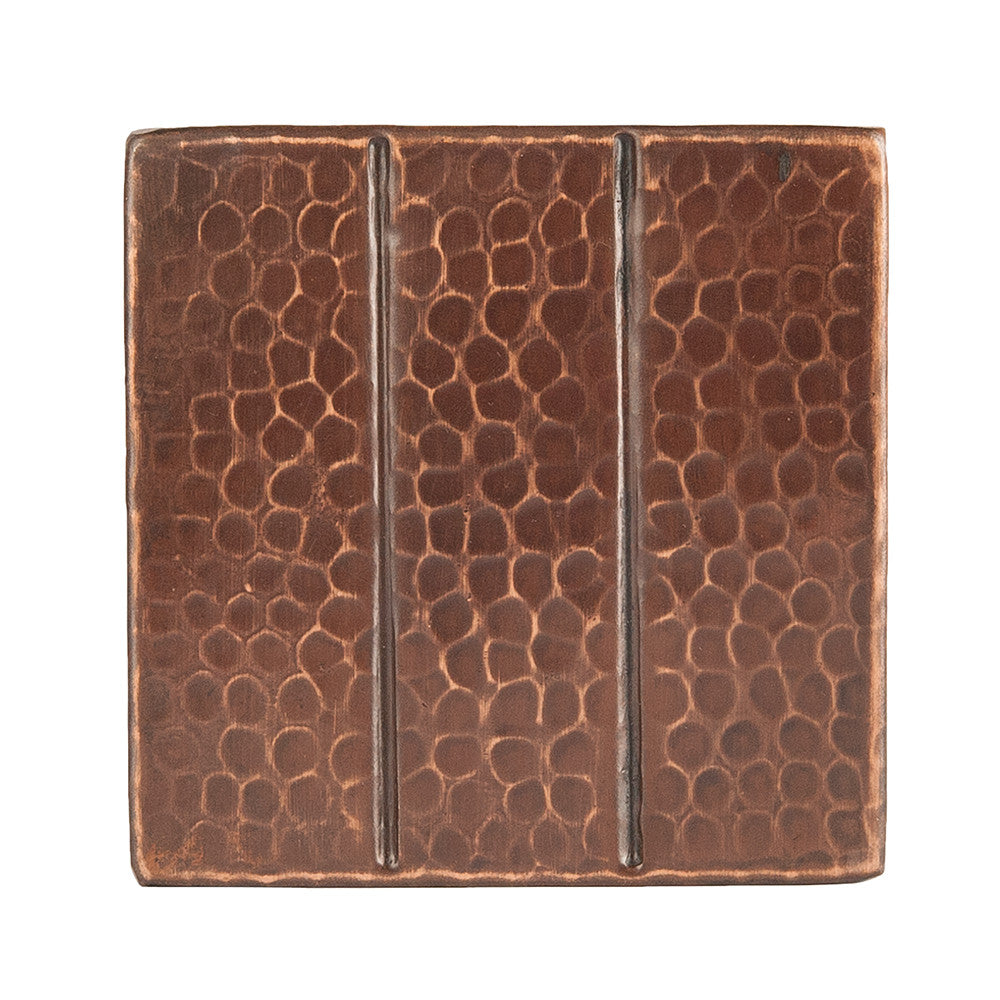 "T4DBL - 4"" x 4"" Hammered Copper Tile with Linear Design"