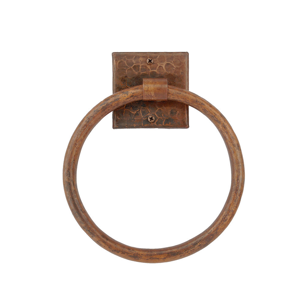 "TR10DB - 10"" Hand Hammered Copper Full Size Bath Towel Ring"
