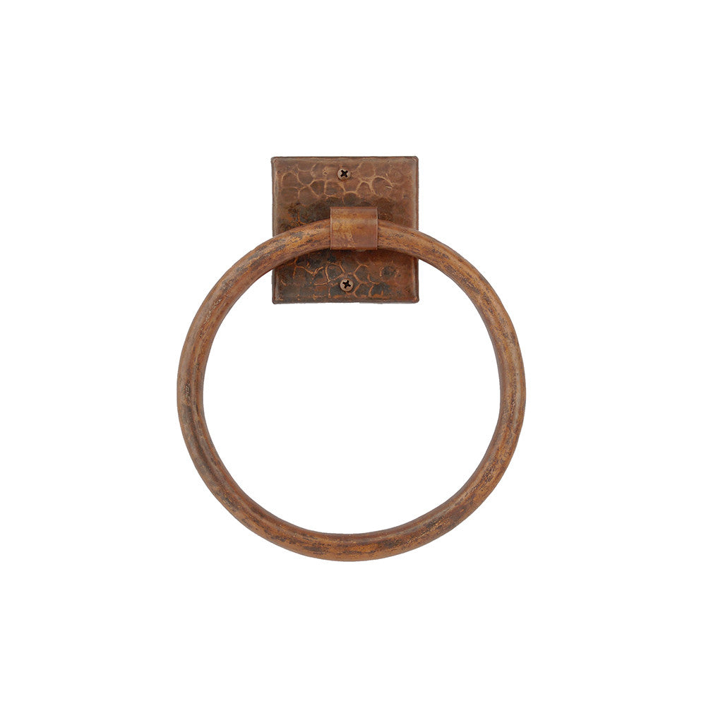"TR7DB - 7"" Hand Hammered Copper Towel Ring"