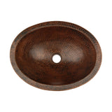 VO17SKDB - Compact Oval Skirted Vessel Hammered Copper Sink
