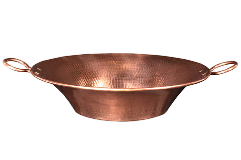 "16"" Round Miners Pan Vessel Hammered Copper Sink in Polished Copper"