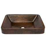 "VREC19SKDB - 19"" Rectangle Skirted Vessel Hammered Copper Sink"