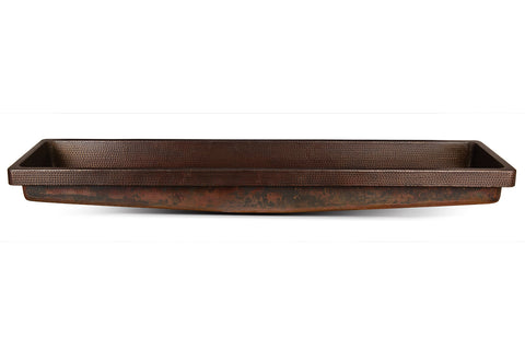 "60"" Rectangle Skirted Vessel Hammered Copper Sink"
