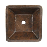 VSQ15SKDB - Square Skirted Vessel Hammered Copper Sink